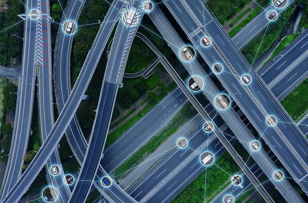 Drone view of highway interchange