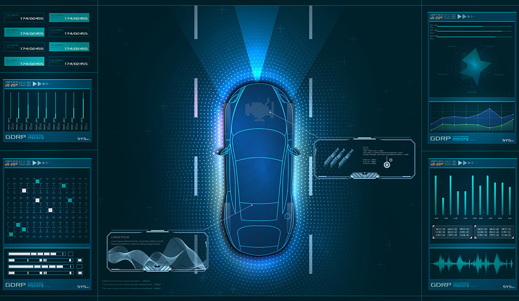 Illustration of car and data analytics surrounding the car