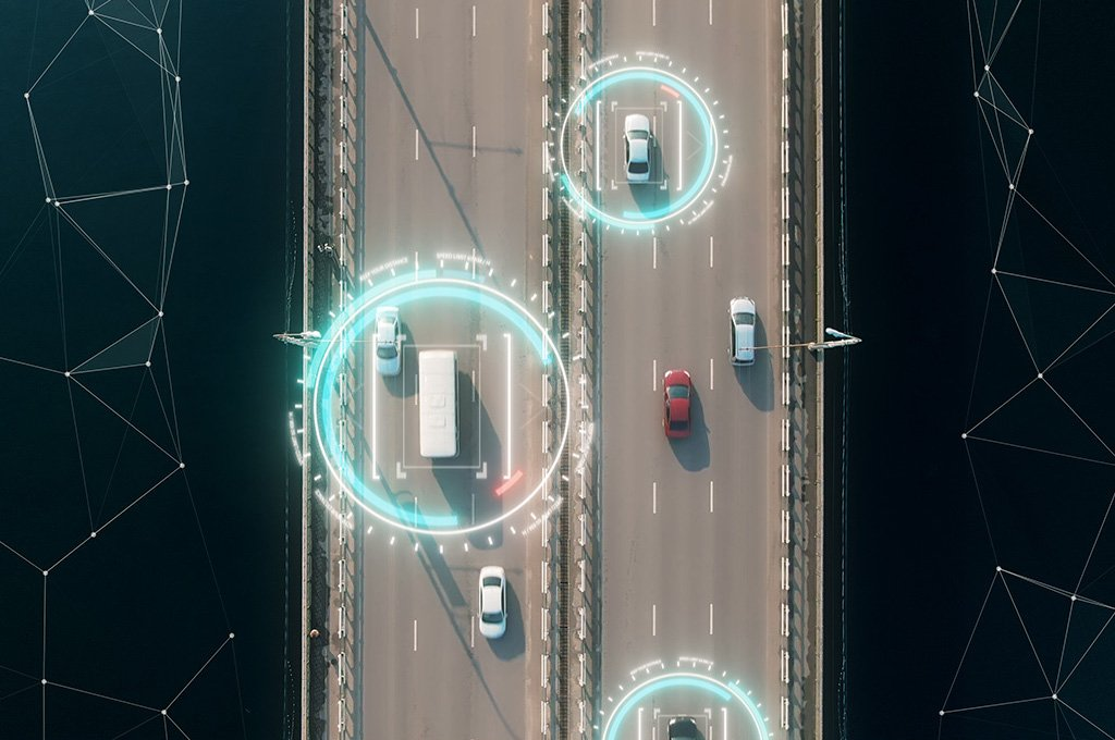 Overview Drone shot of cars on bridge with graphical elements surrounding cars